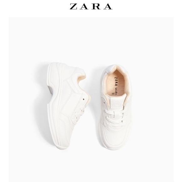 Zara Girls White Chunky Heel Sneakers